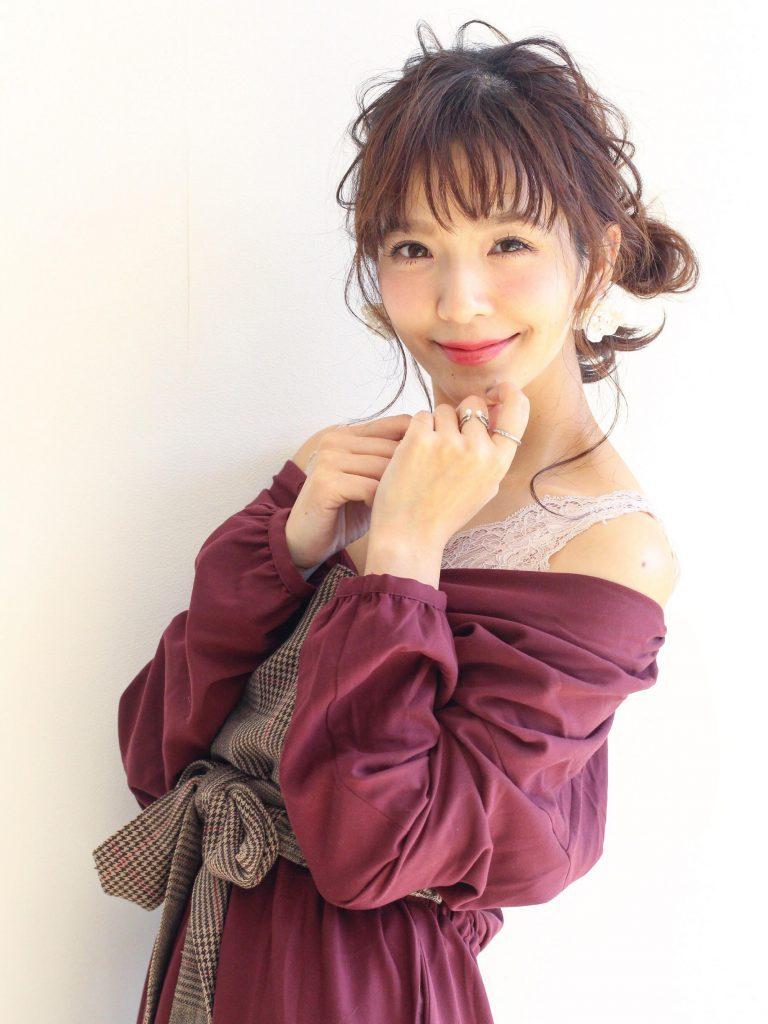 フレンチミディ&カジュアルお団子アレンジカット写真